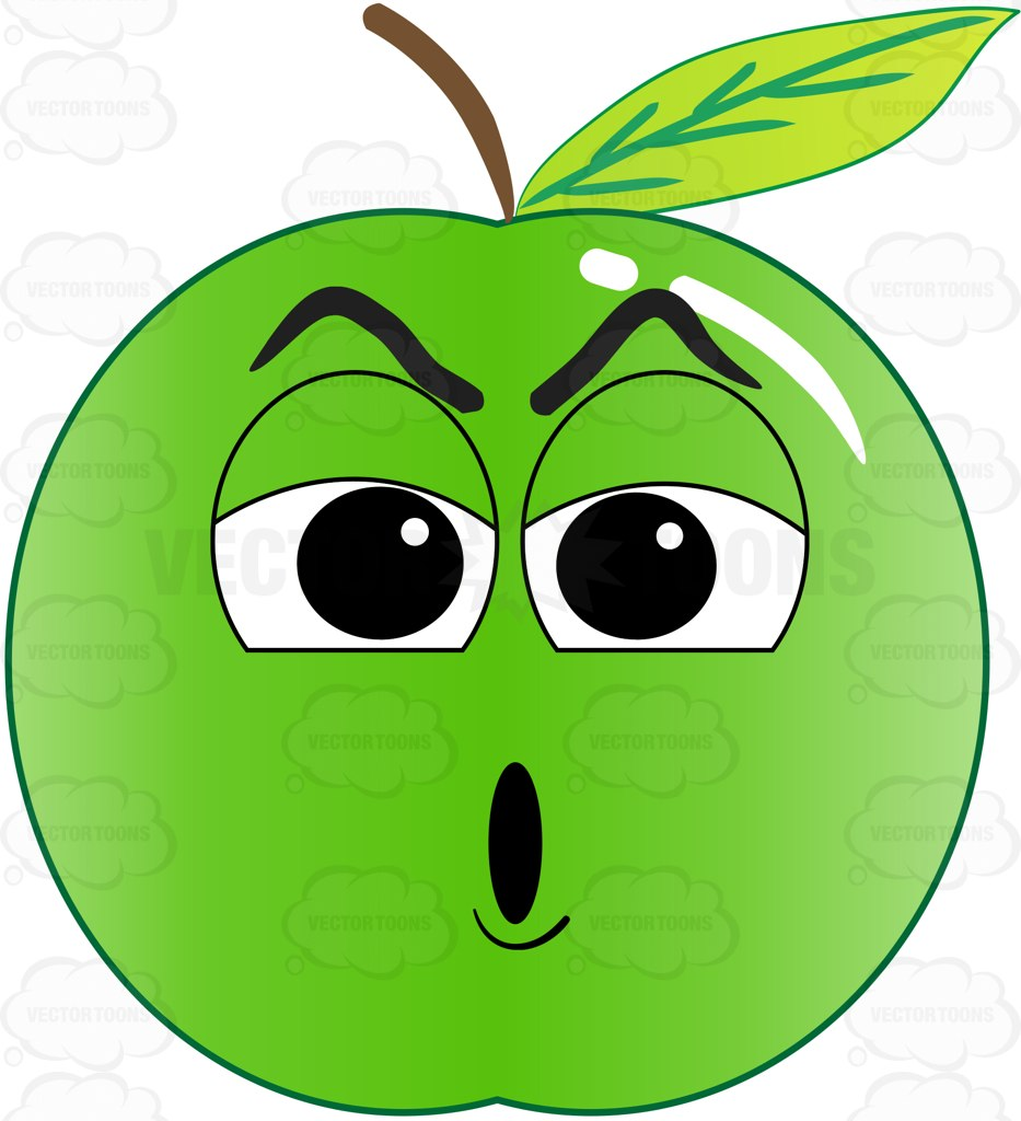 933x1024 Alarmed And Stunned Green Apple Emoji Cartoon Clipart
