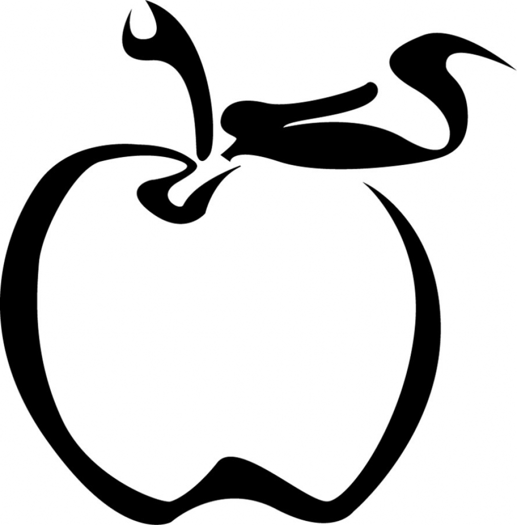 1009x1024 Apple Outline Drawing Apple Line Drawing Clipart Best
