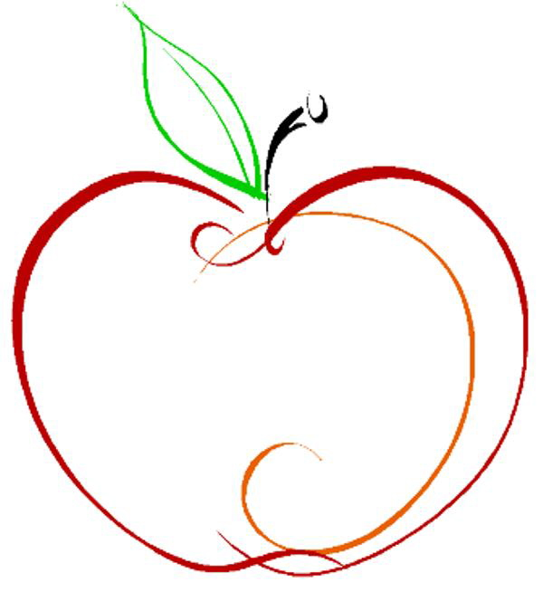 600x654 Apple Outline Clip Art