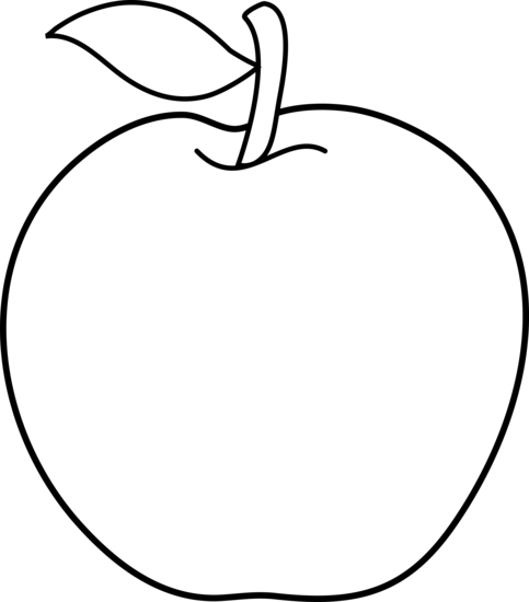 483x550 Colorable Apple Line Art