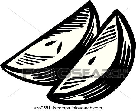 450x366 Clipart Of A Drawing Of Two Apple Slices In Black And White
