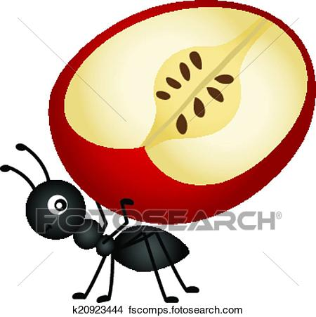 450x451 Clipart Of Ant Carrying Apple Slice K20923444
