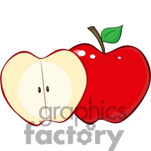 300x300 Half Red Apple Clipart