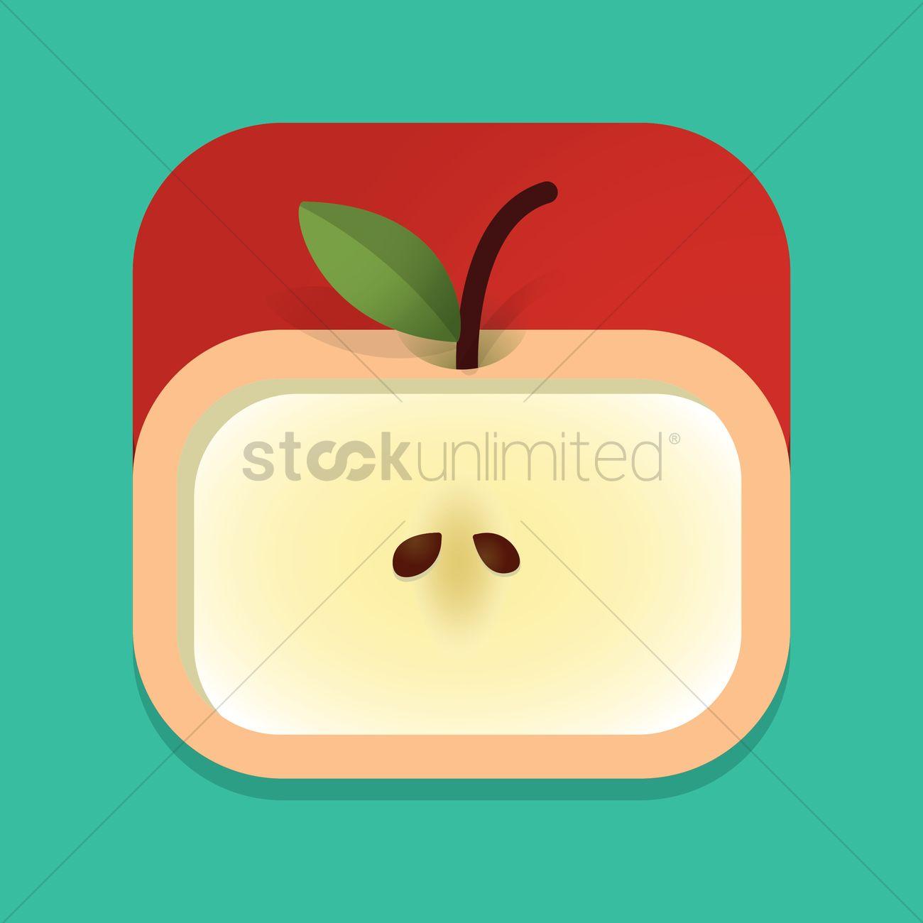1300x1300 Red Apple Slice Vector Image