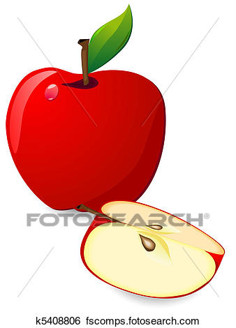 338x470 Stock Illustration Of Red Apple And Slice K5408806