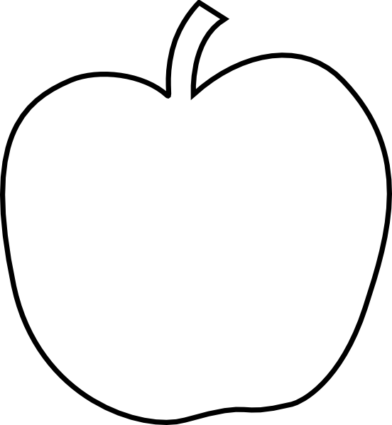 552x599 Black And White Apple Clipart