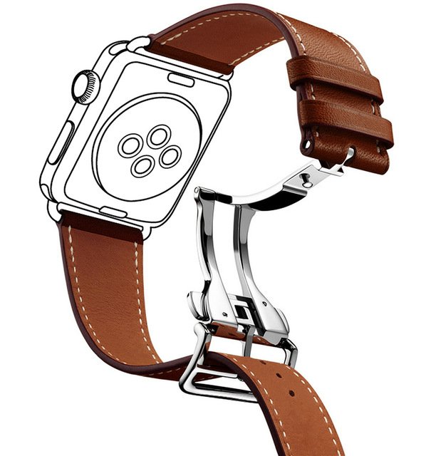 598x640 Deployment Buckle Single Tour Leather Band For Apple Watch Strap