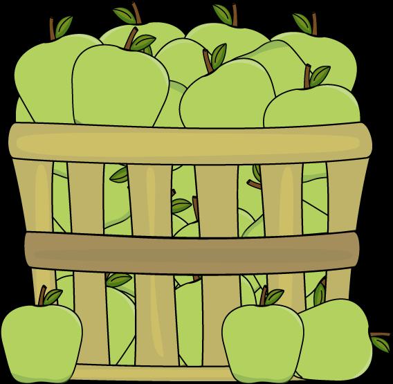 568x555 Basket Of Green Apples Clip Art