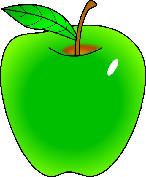 492x597 Shaded Green Apple Clip Art