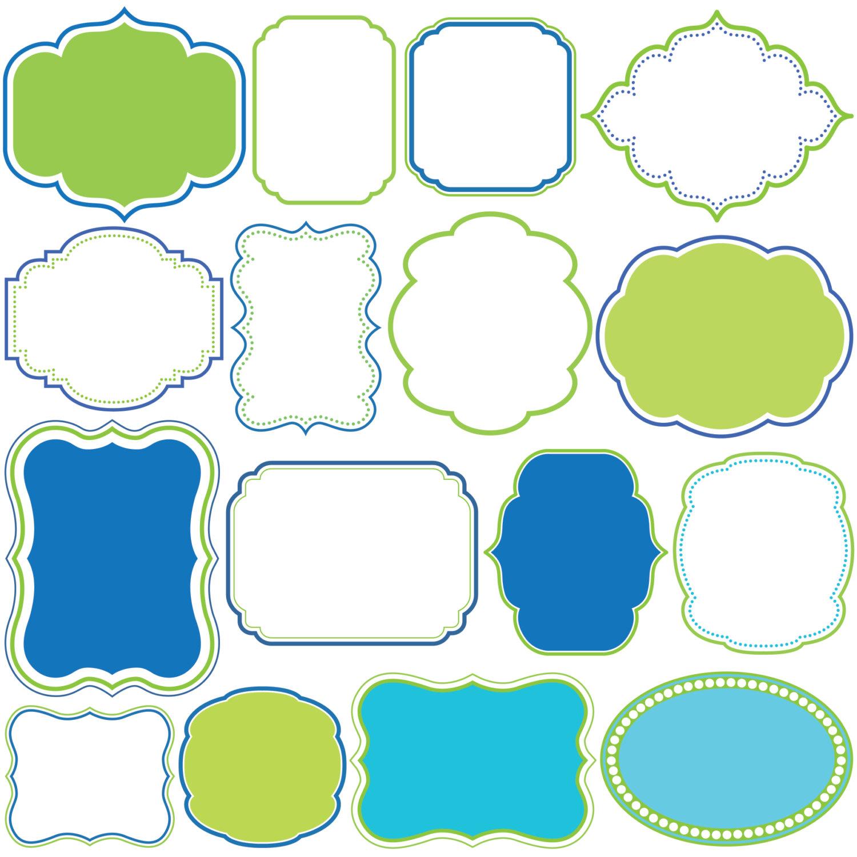 1500x1500 Digital Borders Frames Blue Green Clipart Clip Art Frame