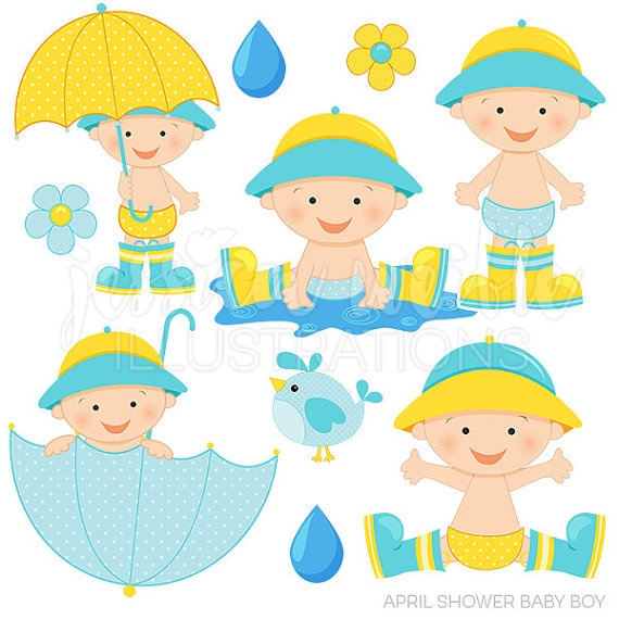 570x570 April Shower Baby Boy Cute Digital Clipart Baby Boy