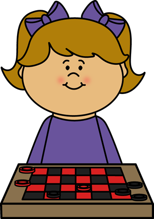 317x450 Girl Playing Checkers Clip Art