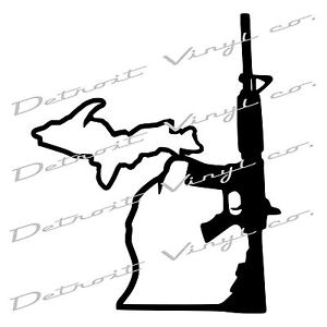 300x300 Michigan Holding Gun Ar 15 With Up, Michigan Mitten Decal Sticker