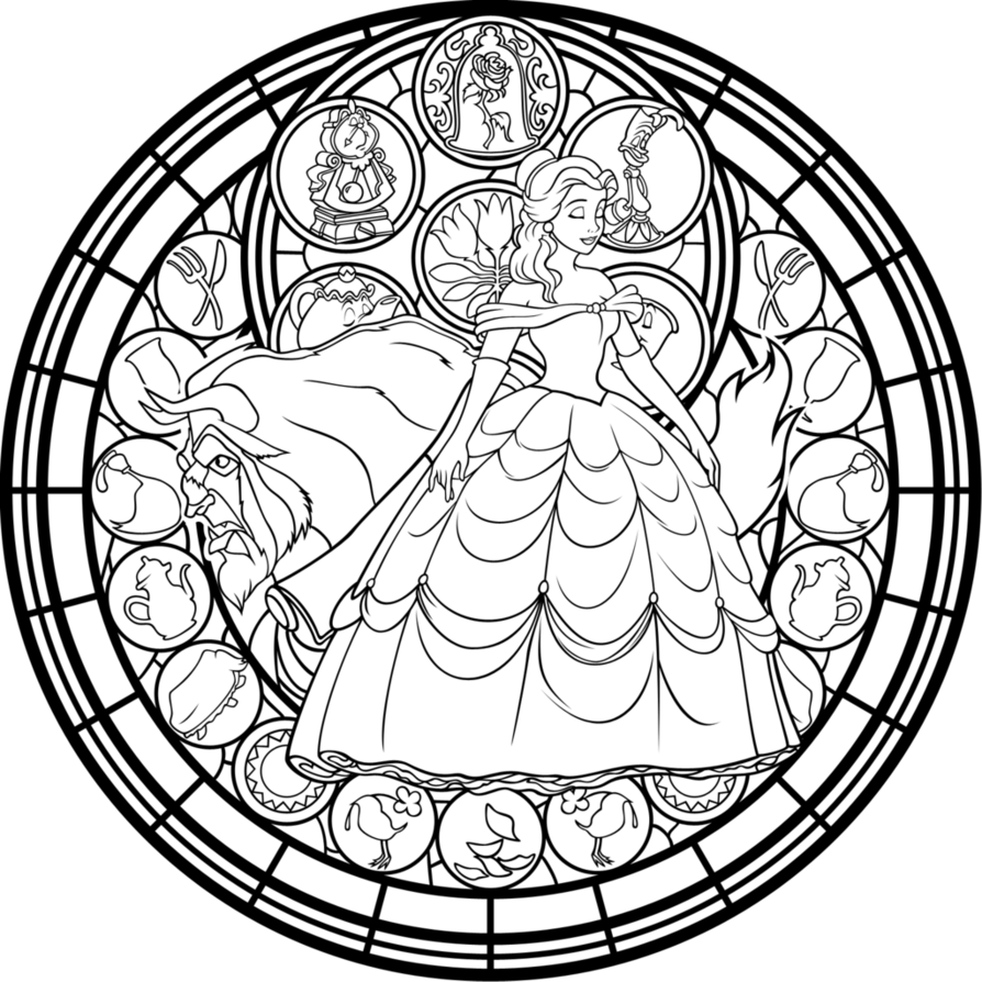 894x894 Belle Stained Glass Vector Coloring Page By Akili Amethyst