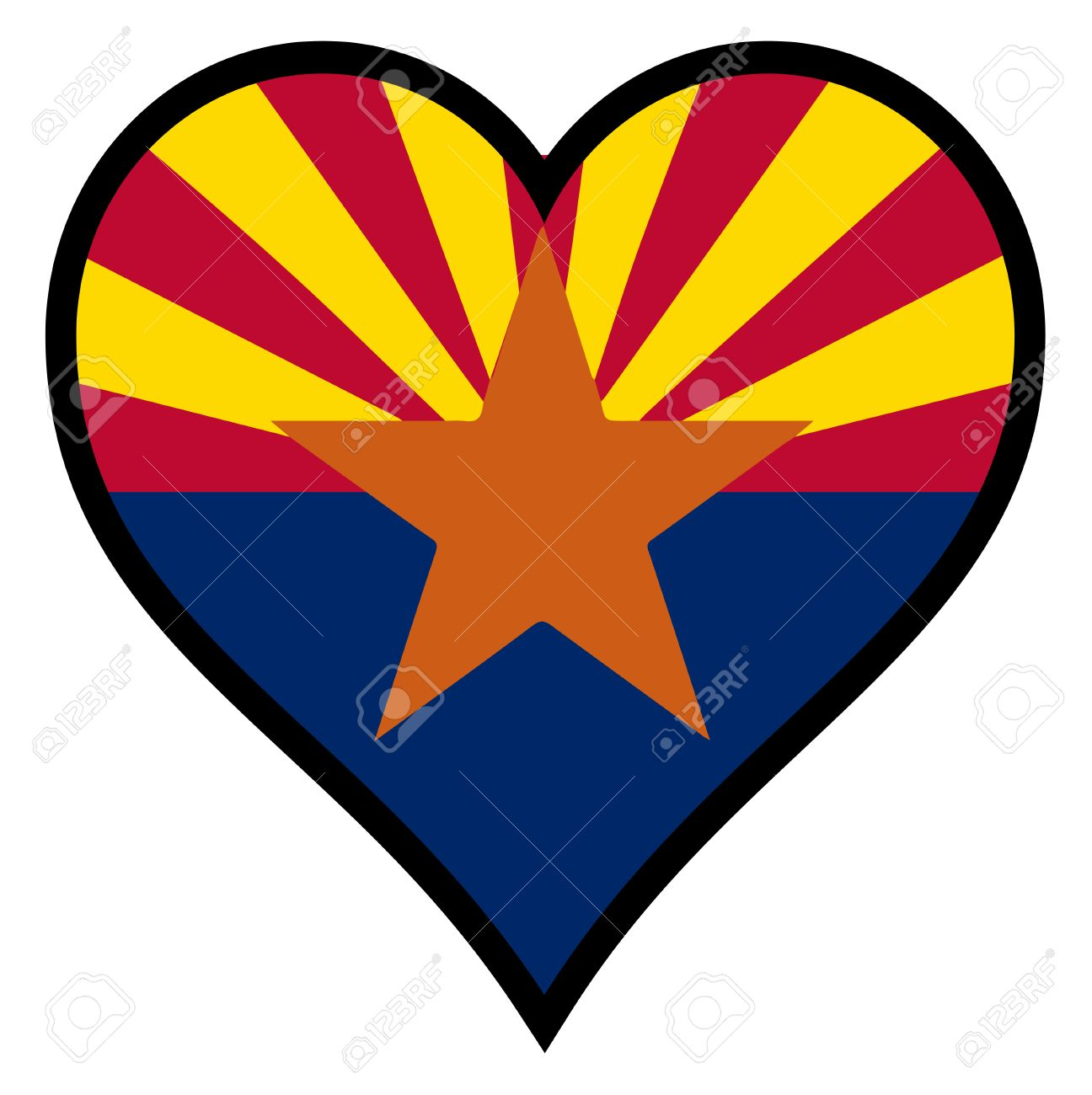 1296x1300 The Flag Of The State Of Arizona Within A Heart All Over A White