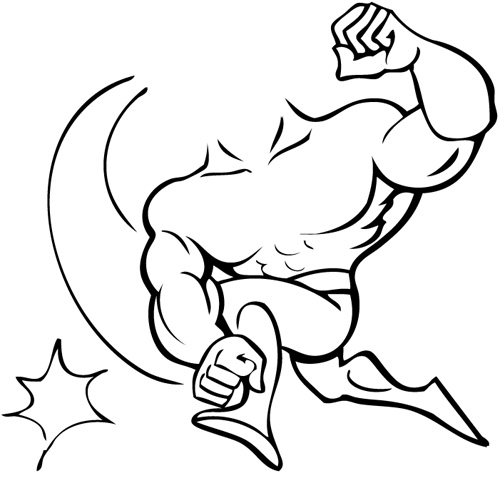 500x483 Black And White Muscle Man Clipart