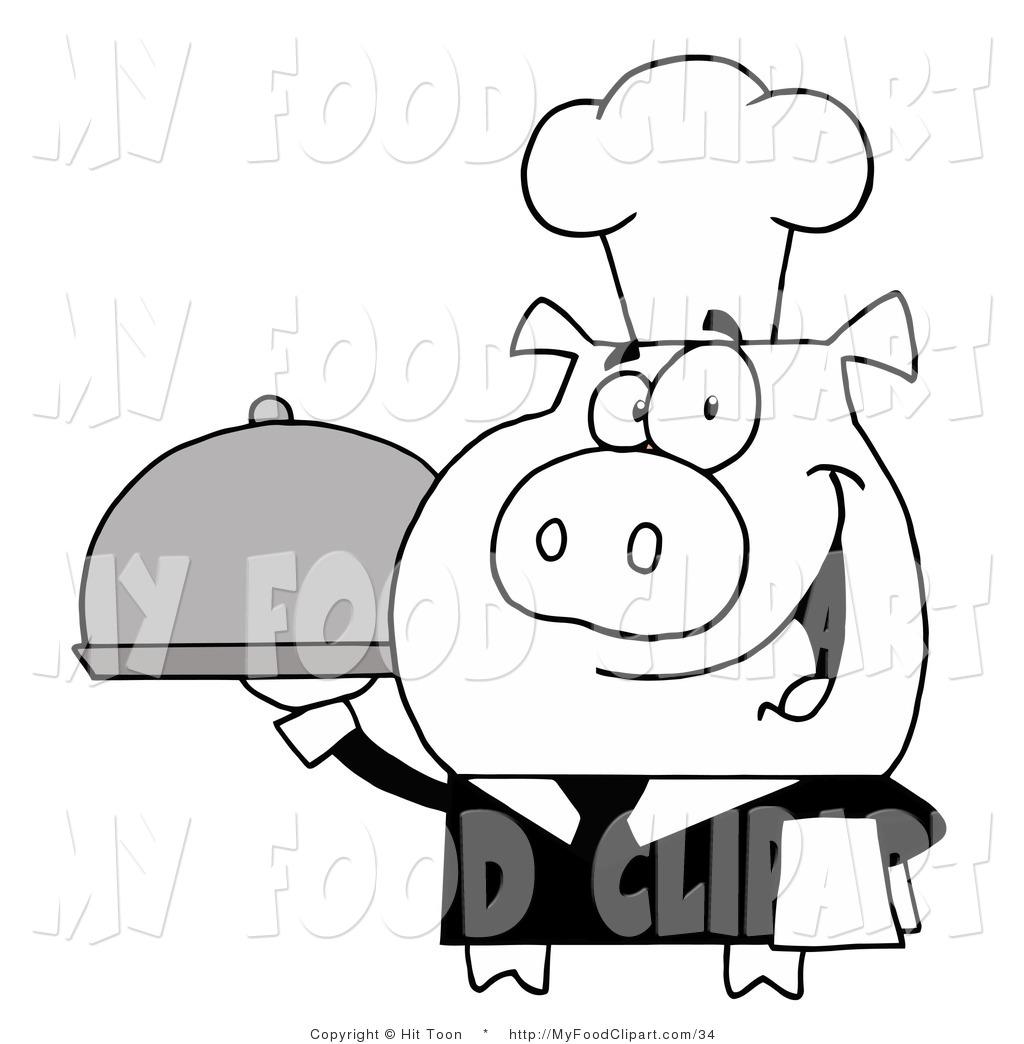 1024x1044 Food Cliprt Of Blacknd White Waiter Pig Serving Food On