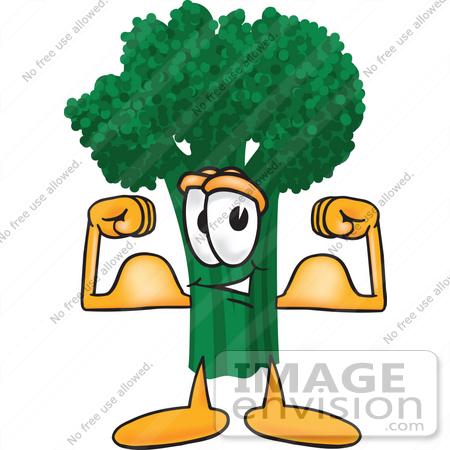 450x450 Clip Art Graphic Of A Broccoli Mascot Character Flexing His Arm