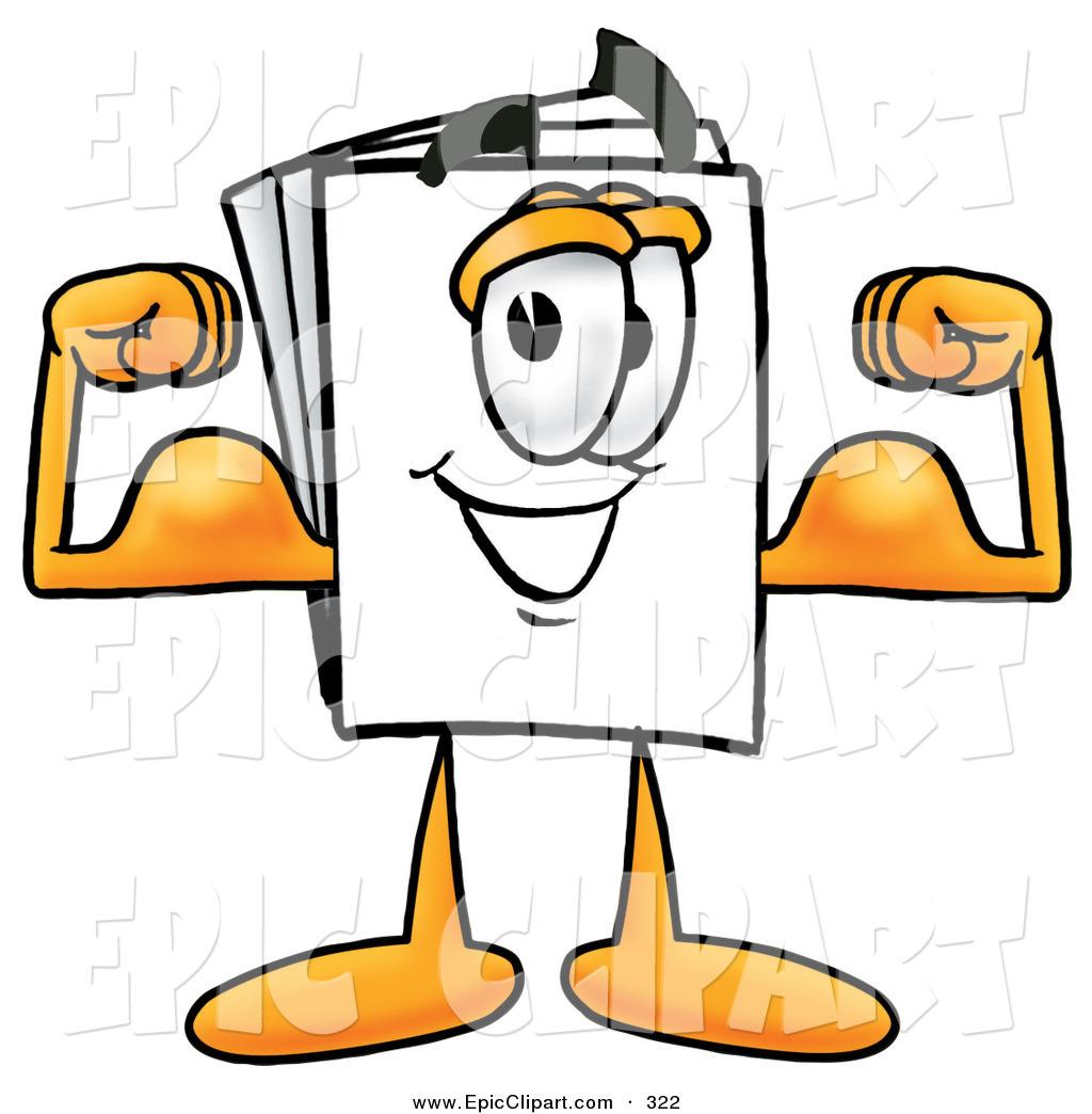 1024x1044 Clip Art Of A Strong Paper Mascot Cartoon Character Flexing His