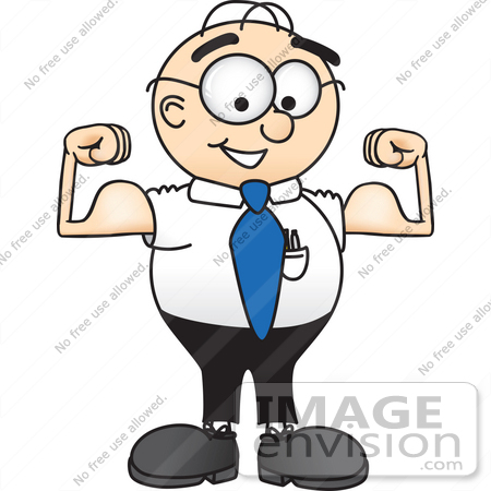 450x450 Clip Art Graphic of a Geeky Caucasian Businessman Cartoon