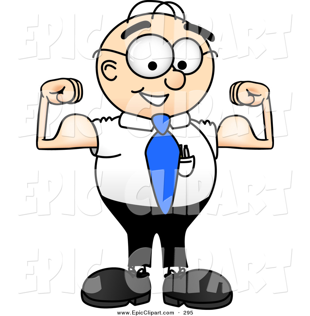 1024x1044 Vector Clip Art of a Muscular Male Caucasian Office Nerd Business