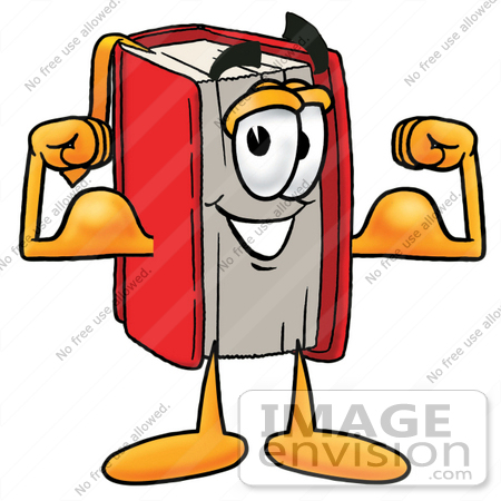 450x450 Clip Art Graphic of a Book Cartoon Character Flexing His Arm