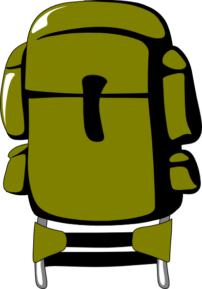 414x592 Army Green Backpack Clip Art