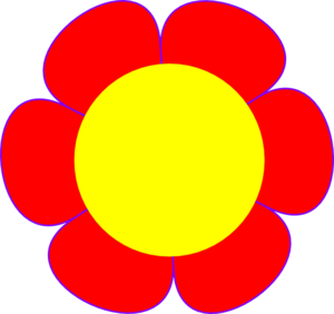300x282 Red Flower Yellow Center Clip Art