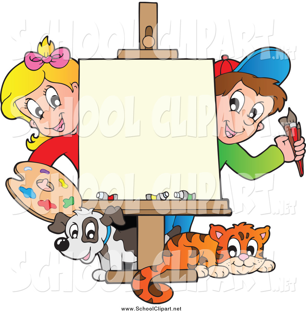 1024x1044 Clip Art Of Art Class Children With A Blank Canvas By Visekart