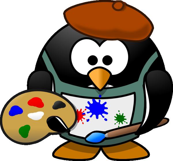 600x560 Artist Penguin Clip Art