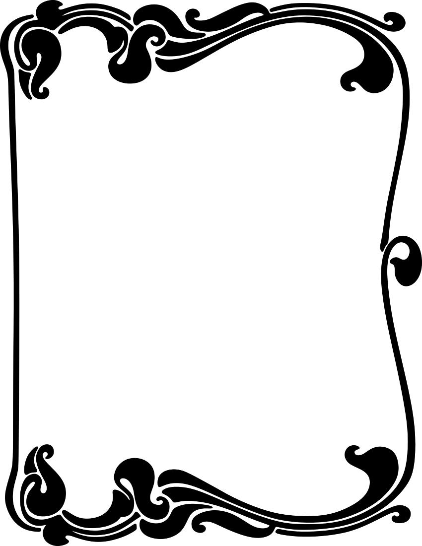 850x1100 Art Nouveau Border Clip Art Download