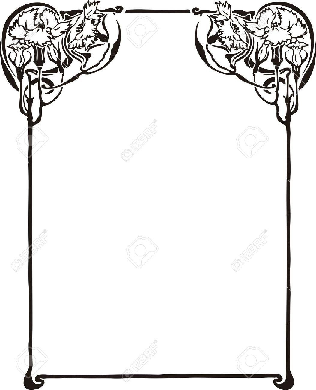 1054x1300 Frame Clipart Art Nouveau