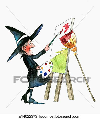 395x470 Drawing Of Witch Painting Canvas On Easel U14022373