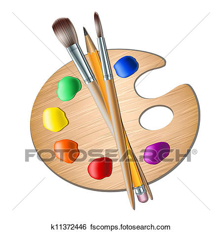 450x470 Clip Art Of Art Palette With Paint Brush For Drawing K11372446