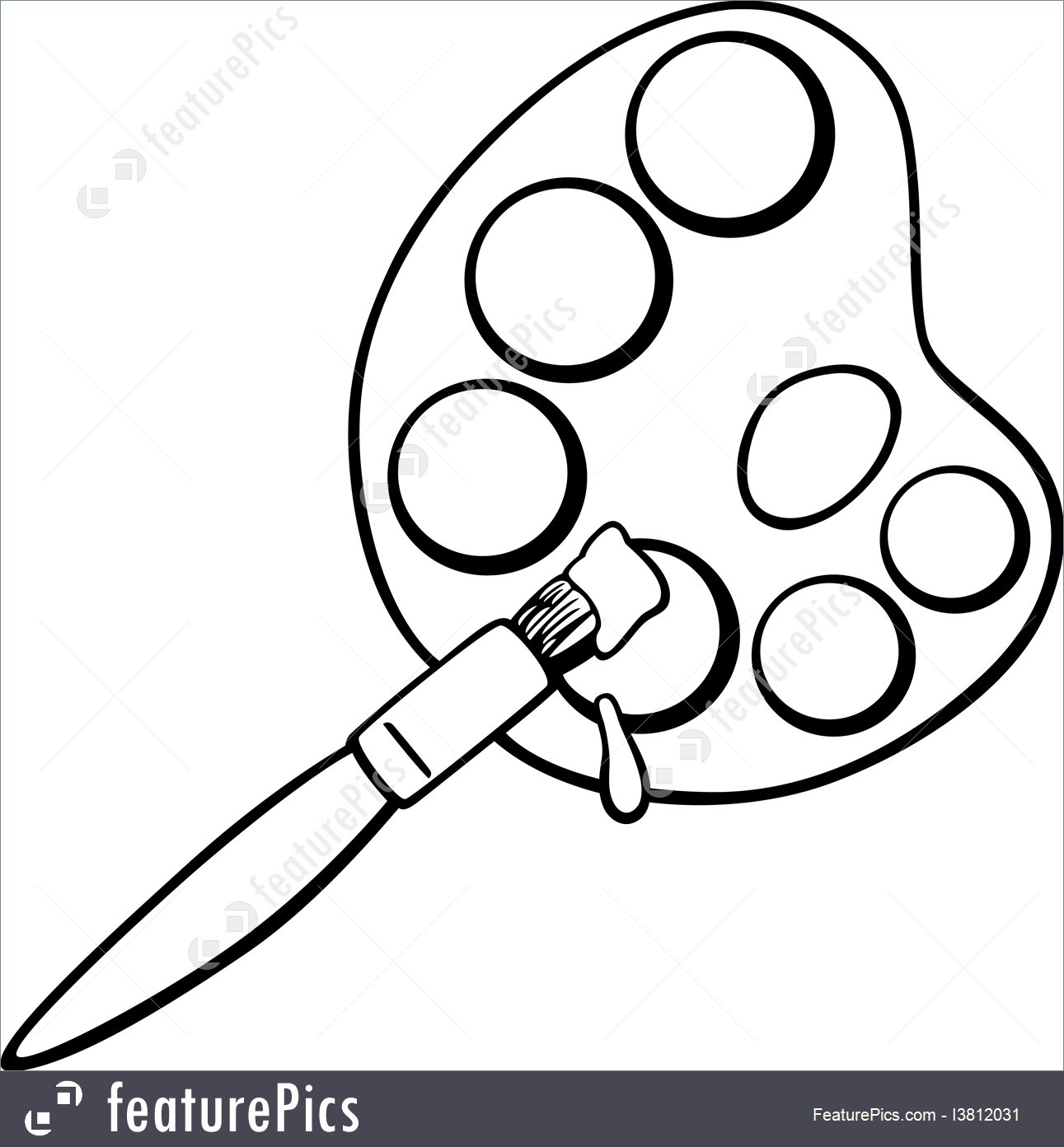 1291x1392 Artistic Tools Brush And Palette Clip Art Coloring Page