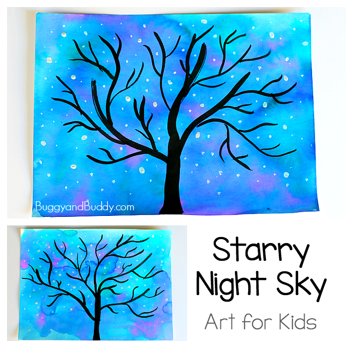 700x690 Starry Night Sky Art Project For Kids