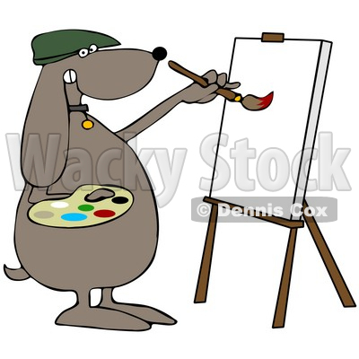 400x400 Illustration Of A Brown Dog Artist Painting On A Canvas Djart