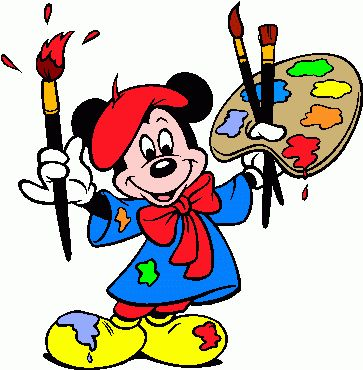 363x370 Painting Area Coloring Mickey Mouse The Artist Painter Clip Art