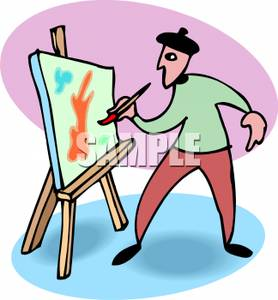 278x300 Artist Painting On Canvas Clip Art Image