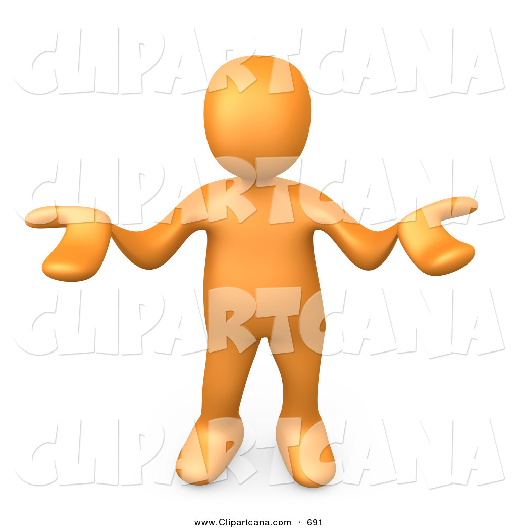 1024x1044 Clip Art Of A Shrugging Orange Person Gesturing In Uncertainty