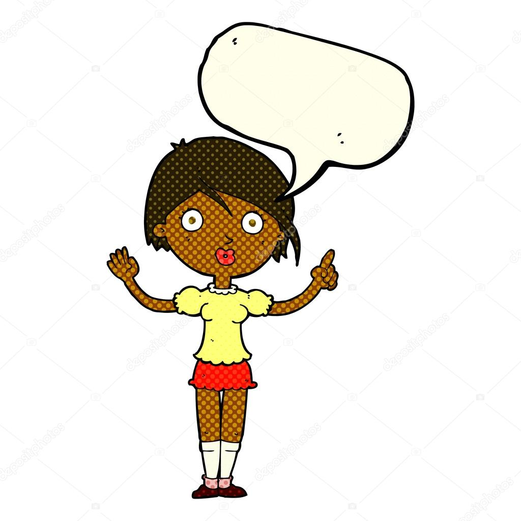 1024x1024 Cartoon Girl Asking Question With Speech Bubble Stock Vector