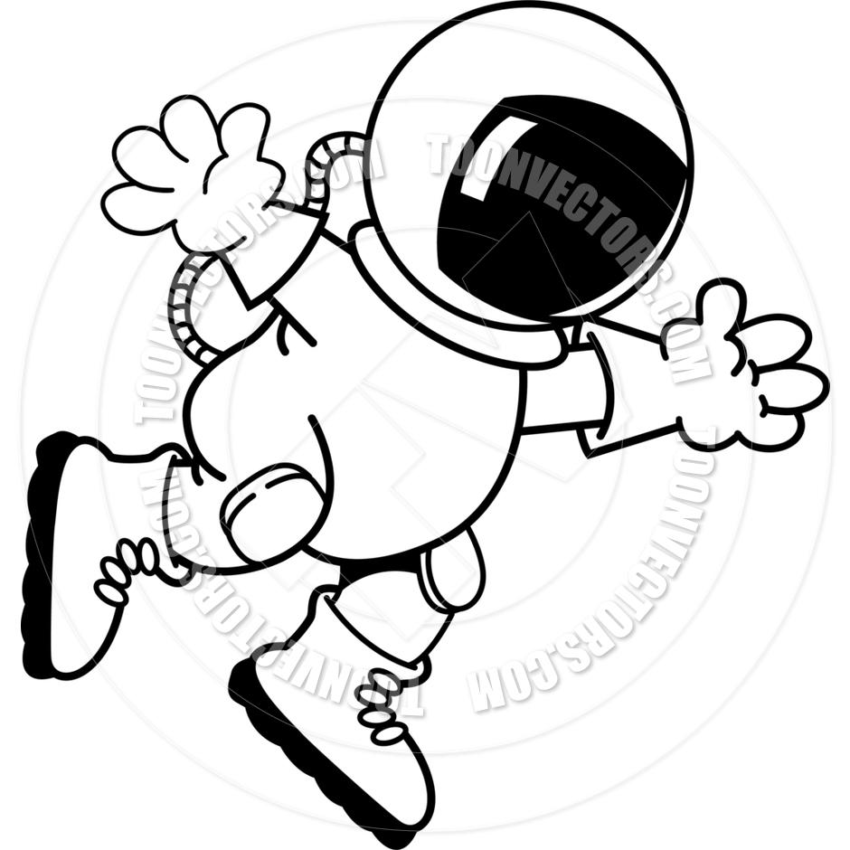 940x940 Cartoon Astronaut (Black Amp White Line Art) By Kenbenner Toon