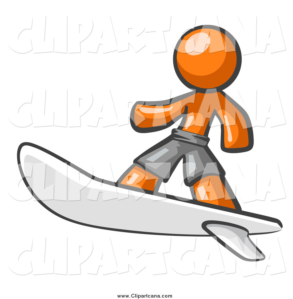1024x1044 Clip Art Of A Orange Man Surfer Dude By Leo Blanchette