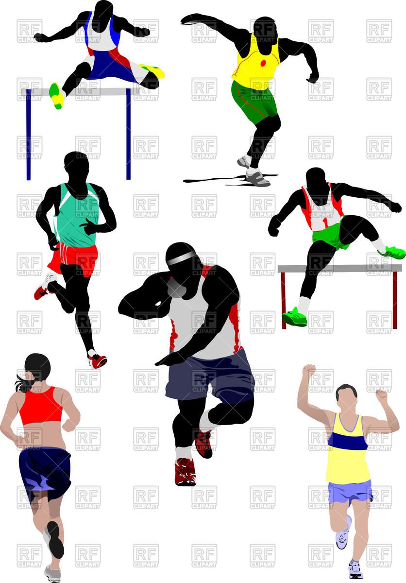 836x1200 Colorful Silhouettes Of Athletics Royalty Free Vector Clip Art