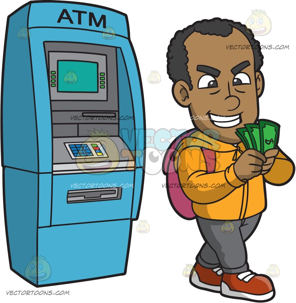 1003x1024 A Black Guy Counting Money After Withdrawing From A Bank Machine