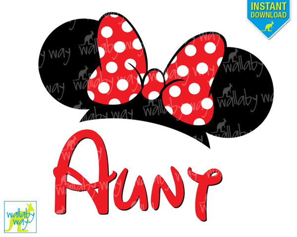 600x480 Disney Minnie Ears Aunt Printable Iron On Transfer Or Use As Clip