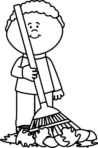 342x516 Black And White Boy Raking Autumng Leaves Clip Art