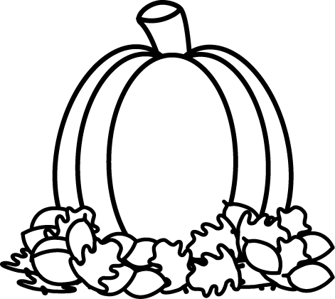 471x420 Black And White Pumpkin In Autumn Leaves Clip Art