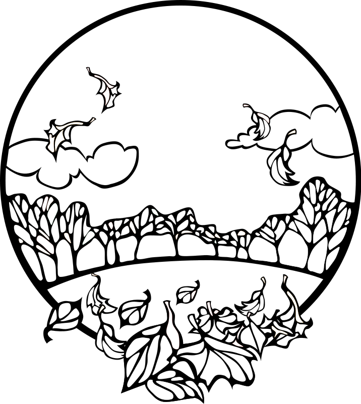 716x801 Fall Clipart Black And White