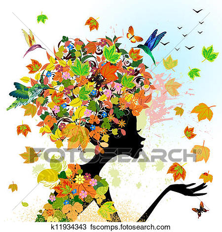 450x470 Clipart Of Girl Fashion Flowers In Autumn K11934343